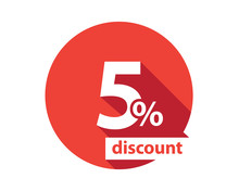 5 Percent Discount  Red Circle
