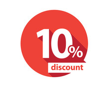 10 Percent Discount  Red Circle