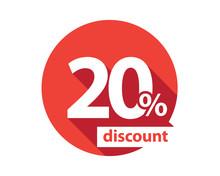 20 Percent Discount  Red Circle