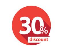 30 Percent Discount  Red Circle
