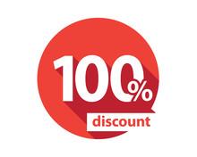 100 Percent Discount Red Circle
