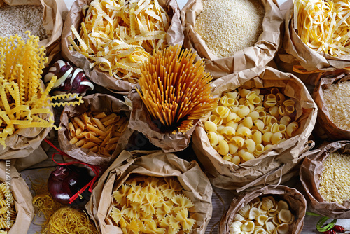 Fotografie, Obraz  pasta riso e couscous