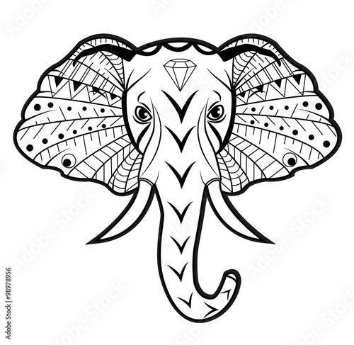 Elephant Head Vector Isolated On White Testa Elefante Vettoriale