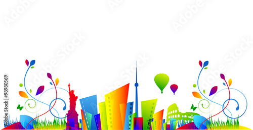Obraz case, abitazioni, immobiliare, skyline - fototapety do salonu