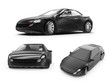 concept of a black sports car on white background, 3d rendered illustration