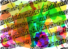 Colorful Musical Notes Book Illustration