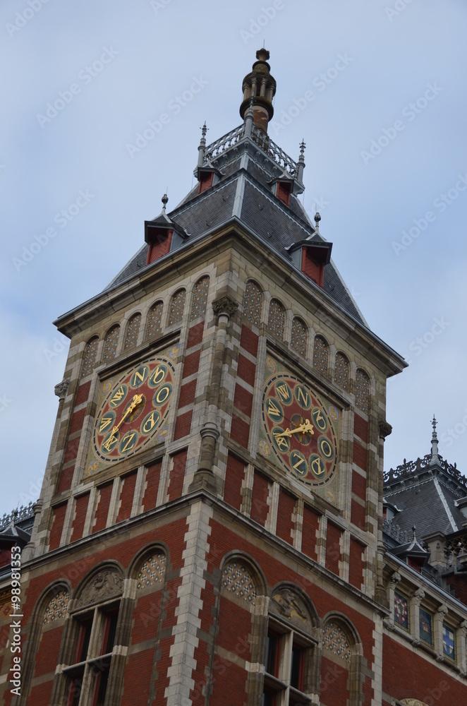 Estación Central Trenes Amsterdam Torre Fotografía De Reloj 6bf7Ygvy