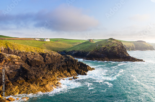 Doyden Castle in panorama of Cornwall coastline Poster