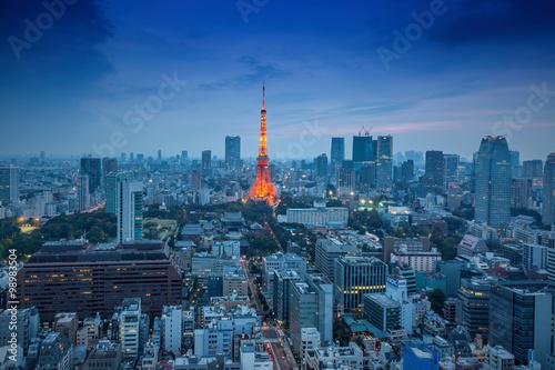 Fototapeta Night view of Tokyo Skylines.Tokyo is both the capital and large obraz na płótnie