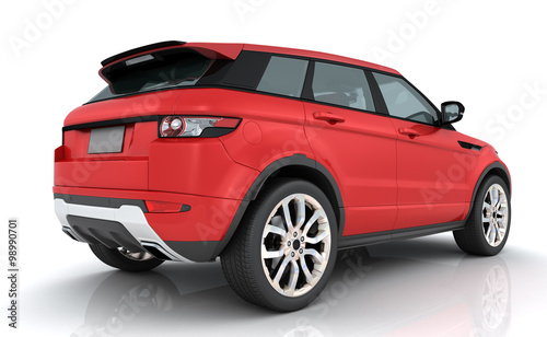 Red Range rover Canvas Print