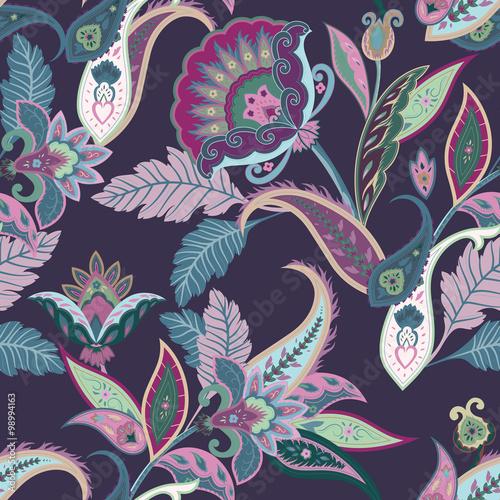 Vászonkép Fantasy flowers seamless paisley pattern