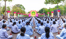 Ho Chi Minh City, Vietnam - December 27th, 2015: Square Celebrate Buddha Amitabha Buddhist Thousands Sit In Rows Facing Stage Revered Buddha Fantastic Important In Ho Chi Minh City, Vietnam