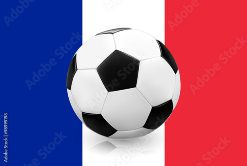 Poster  Realistic soccer ball / football on French flag background