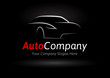 Auto Company Vehicle Logo Vector Design Concept with Sports Car Silhouette on black background..