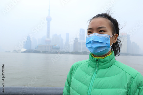 worried young woman wear a mask at the pollution city Canvas Print