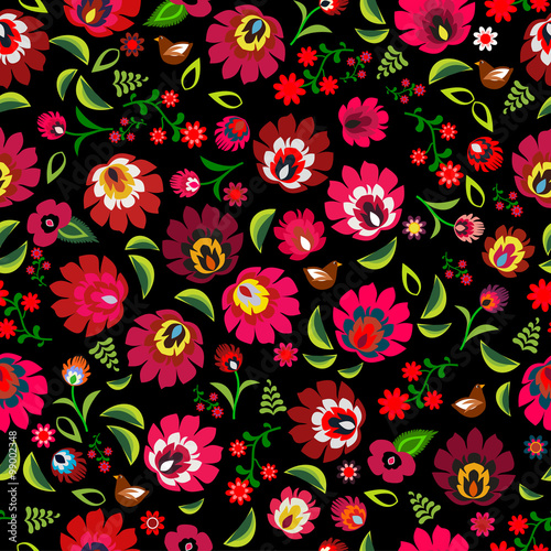 obraz PCV Polish folk floral pattern vector