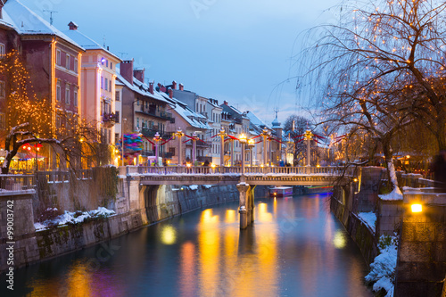 Ingelijste posters Beijing Ljubljana in Christmas time. Slovenia, Europe.