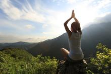 Yoga Woman Practice On Mountai...