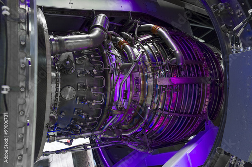 Photo Jet engine, internal structure with hydraulic, fuel pipes and other hardware and