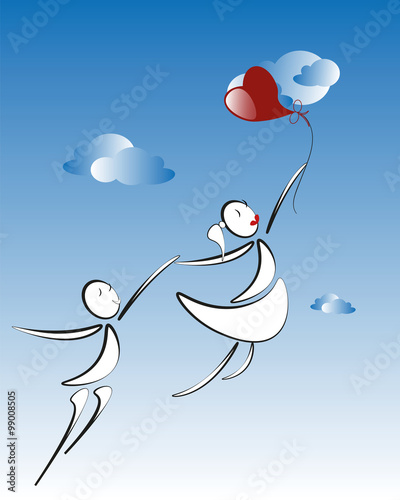 Cuadros en Lienzo lover boy and girl with red heart balloon