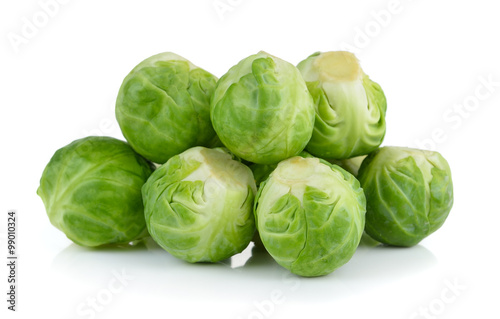 Spoed Foto op Canvas Brussel Group of Brussel Sprouts isolated on white background