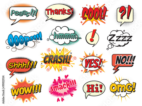 Poster Pop Art Cool, smack, oops, wow, thanks, yes, no, hi, crash, omg, hmm, psst, shh! Bubble template for comics. Pop art comics style. Vector illustration. Isolated on white background