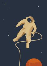 Space Rocket, Seria Ilustracji, Kosmonauta W Przestrzeni,