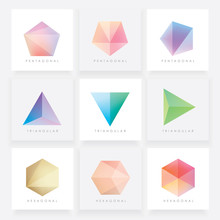 Colorful Collection Set Of Soft Mesh Facet Crystal Gem Logo Designs Or Web Elements. Pentagonal, Triangular And Hexagonal Polygon Shapes.