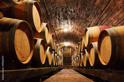 Photo Oak barrels in a underground wine cellar