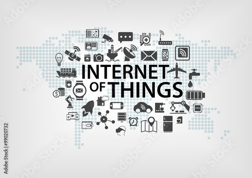 Internet of things (IOT) concept with world map and connected devices as vector illustration with various icons of objects