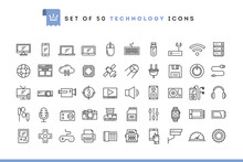 Set Of 50 Technology Icons, Th...