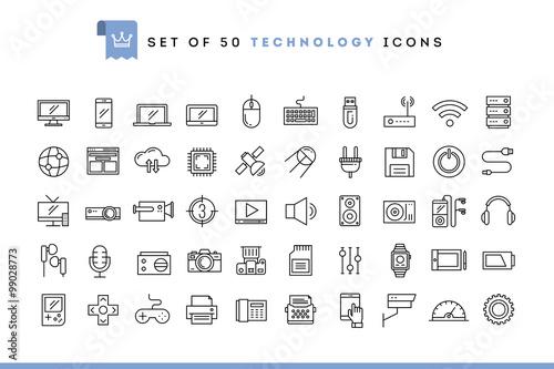 Fotografia  Set of 50 technology icons, thin line style