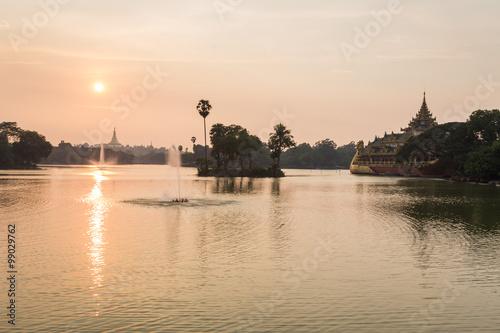 Aluminium Prints Bali atmosphere of dusk at Shwedagon pagoda in Yangon, Myanmar