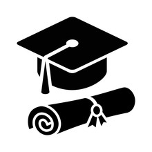 Graduation Cap / Hat With Diploma Flat Icon For Apps And Websites