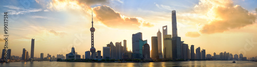 Shanghai Pudong skyline panorama at sunrise, China