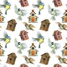 Flying Birds And Birdhouses Seamless Pattern