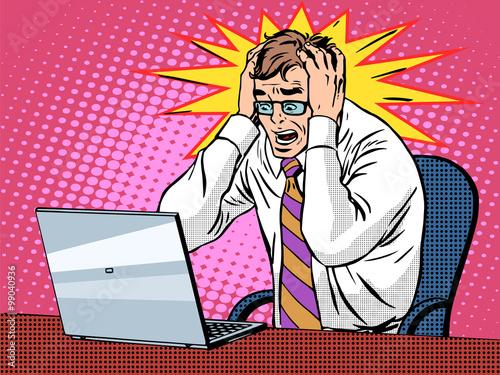 Fotografie, Obraz  Businessman working on laptop bad news panic