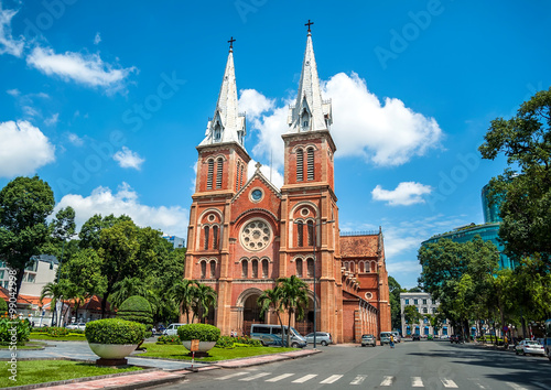 Notre-Dame Cathedral Basilica in Hochiminh city, Vietnam. Its built in 1880 during French domination