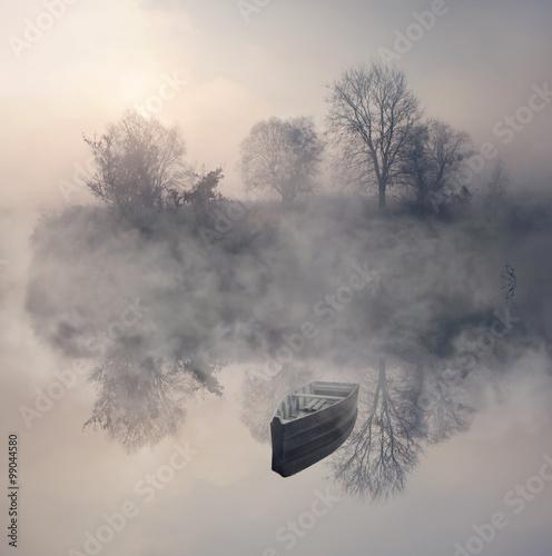 Fototapeta Jezioro boat-in-the-fog