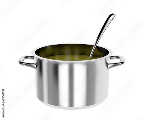 Fotografie, Obraz  Cooking pot and ladle