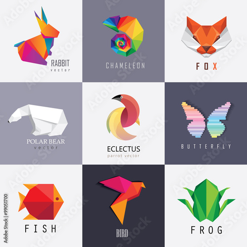 Abstract Colorful Vibrant Animal Logos Design Set Collection Rabbit Chameleon Red Fox