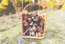 Firewood Basket Outside On Fro...