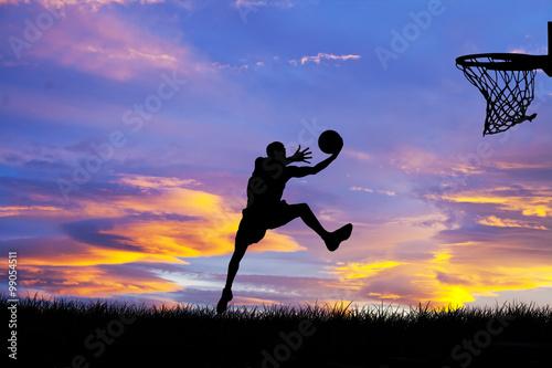 fototapeta na lodówkę jugando al baloncesto