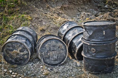 Valokuva  Oil crisis black barrels