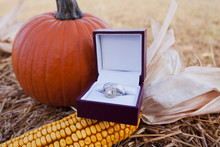 Wedding Rings With Rustic Decor (pumpkin And Corn On Hay Bale)