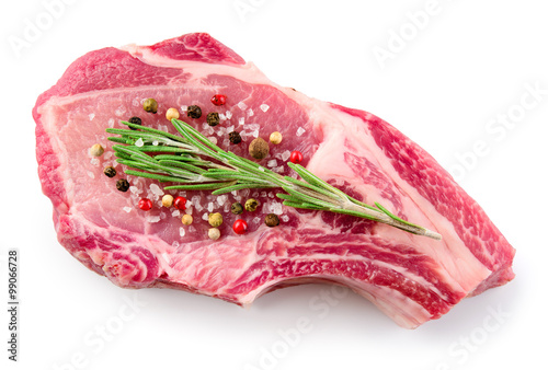 Staande foto Vlees Fresh raw meat isolated on white background. Organic food.
