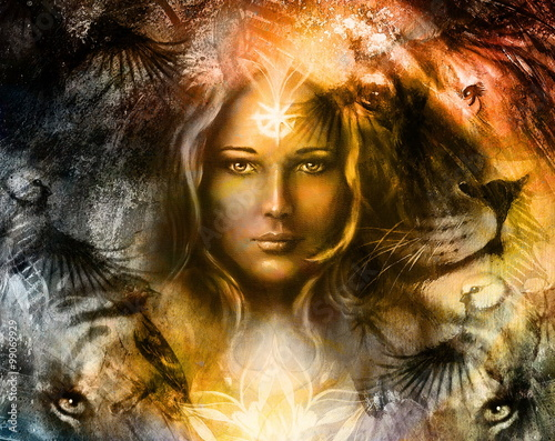Painting Mighty Lion And Tiger Head And Mystic Woman With