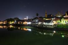 Village Near River At Night  At Chantaboon Village In Chantaburi , Thailan