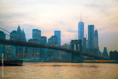 New York City overview with Brooklyn bridge Wallpaper Mural