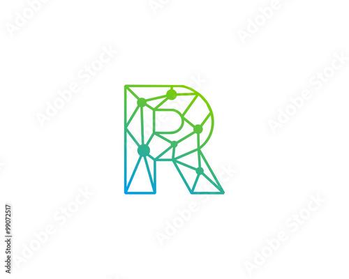 connect line letter r logo design template element